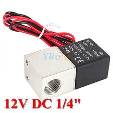 "12V DC 1/4"" 2 Way Pneumatic Aluminum Electric Solenoid Air Valve for Gas Liquid"