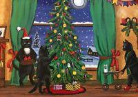 ACEO XMAS PRINT OF PAINTING ART RYTA BLACK TUXEDO CAT WINTER LANDSCAPE SANTA