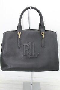 Ralph Lauren Hayward Medium Pebbled Leather Satchel Women Handbag Black $295 NW