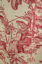 Antique French block printed Toile de Angers valance linen fabric ~ 1785