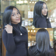 Joli Perruque Wig Longue Noire Raide Cheveux Synthétiques Femmes Costume Décor
