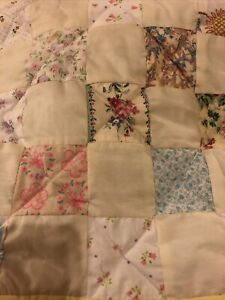 """NEW Small Handmade Baby Quilt Moses Basket Floral Reversible Alphabet  22""""x16"""""""