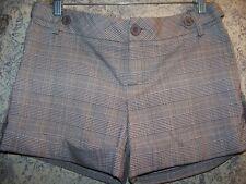 Plaid stretch cuffed low rise short shorts RAMPAGE women 6 brown summer dressy