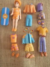 """Polly Pocket Boy Doll Lot """"Colors of the Rainbow"""" Orange Outfits Clothing M96"""