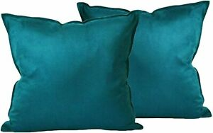 "2 Zealax Dark Teal Green Brushed Microfiber Soft Throw Pillow Covers 20"" X 20"""