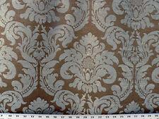 Drapery Upholstery Fabric Heavy Weight Jacquard Chenille Damask - Blue/Gray