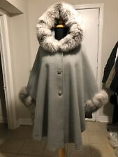 Light Gray Cashmere Wool cape with Silver fox fur Hood and Cuff Trim LINED