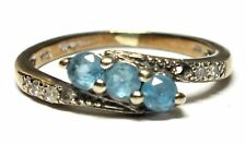 .375 9ct YELLOW GOLD 0.04ct DIAMOND & Round Blue SPINEL Ring, I.5, 1.56g  - W47