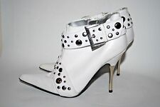 """Sexy Schuh Womans White Leather Shoes High Heals 3"""" Studs Size 4 / 37 Stiletto"""
