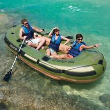 3 Person Inflatable Pontoon Boat Dinghy Fishing Lake Raft 557 Lbs Motor Mount