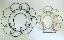 2 Vtg Plate Hang-Ups Round Wire Hangers Spirals Scalloped MidCentury Retro Wall