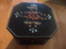 Hand painted hexagonal wooden box