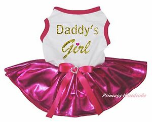 Father Daddy Girl White Cotton Top Bling Hot Pink Skirt Cat Pet Dog Puppy Dress
