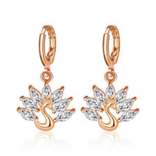 Peacock Style Natural White Fire Topaz Gems Yellow Gold Plated Dangle Earrings