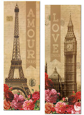 Amour and Love Paris Eiffel Tower and London Big Ben Panels; 2-8x18in Posters