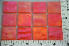 "0125.31 - 12 IRIDIZED OPALESCENT ORANGE 1"" x 1"" 3mm THICK BULLSEYE 90 COE GLASS"