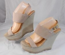 Steve Madden WARMTHH Womens Wedge Heels Size 9.5 M Strappy Suede Platform Taupe