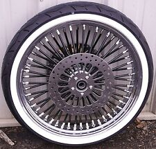 Black 21 3.5 52 Fat Spoke Mammoth Front Wheel Tire Package Harley Touring 08-17.