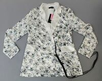 Pretty Little Thing Womens Floral Longline Satin Blazer SV3 White UK:12 US:8