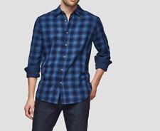 JOE FRESH Men's Long Sleeve Plaid Shirt Denim Blue Color Regular Fit SIZE 2-XL