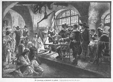 Hexe, Hexenwaage in Oudewater, Original-Holzstich nach Fritz Bergen von 1884