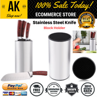 Stainless Steel Universal Knife Holder Block Round Stand Soft Touch Save Space