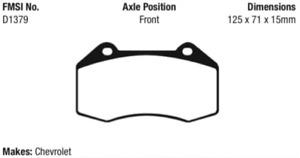 EBC Yellowstuff Brake Pad Set Front for 07-10 Cobalt / 08-11 HHR 2.0L # DP41539R