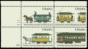 Scott 2062a, Street Cars 20¢ Plate Block of 4 from 1983 - Mint, Never Hinged