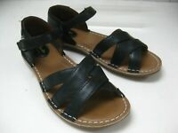 Ladies black leather CLARKS ARTISAN sandals flats UK 5.5 E WIDE FIT sling backs
