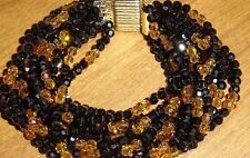 Judith Leiber Amazing Black & Amber Beaded Crystal Bracelet