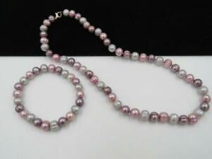 JTV Pink Purple Gray Cultured FW Pearl Sterling Silver Necklace & Bracelet Set