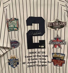 SIGNED DEREK JETER AUTO GAME MODEL JERSEY WITH ALL STAR PATCHES LE 14/22 STEINER