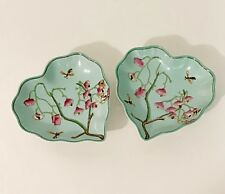 A Pair (2 pc) of Heart Shape Porcelain Dish Trays Jewelry Tray in Cherry Blossom
