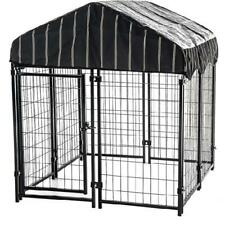 Outdoor Welded Wire Pet Dogs Kennel Crate Cage House Shelter with Shade Cover