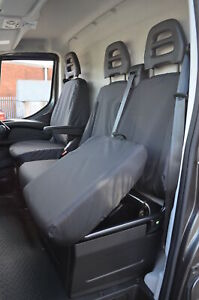 Black Tailored Waterproof Seat Covers Front 3 for Iveco Daily 2014+