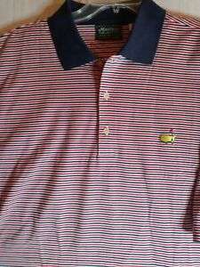 New No Tags Masters Mens Collection Stripe Embroidered Golf Polo Shirt ~ XL