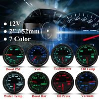 2'' 52mm Car Boost Vacuum Water Oil Fuel Temp Pressure Tachometer Volt