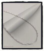 Chaîne Longue Maille Singapour 60 cm En Argent Massif 925/000 Bijoux NEUF