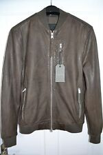 All Saints Kino Leather Bomber - x small slate grey BNWT