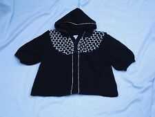 SO.. Black w/ White Cropped Hooded Sweater Sz S NEW