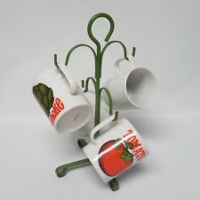 MCM Green Metal Mug Tree with 4 Mugs Asparagus Corn Artichoke Tomato Japan