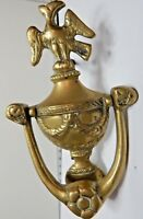 Antique Brass Door Knocker 19th Century Victorian Urn With Swags And Bird