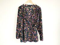 City Chic Size Medium(Size 18) Floral Wrap Top Long Sleeve Tie Up Ladies