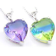 Wholesale 2 Pieces/Lot Heart Rinbow Mystic Topaz Tourmaline Gems Silver Pendant