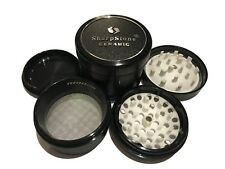 "Sharpstone Ceramic 2.5"" Inch Hard Top Herb and Tobacco Grinder 4pc Large Black"