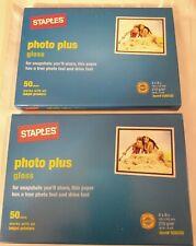 "2 Box Lot of STAPLES Photo Plus Gloss Print Paper 4"" x 6"" 50 Sheets per box NEW"
