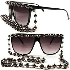 Pearl Chain Fun Hip Hop Oversized Vintage Retro Womens Concert Party Sun Glasses
