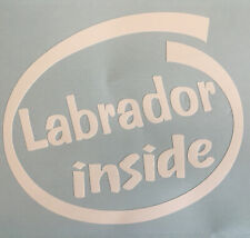 LABRADOR INSIDE DOG ON BOARD CAR WINDOW STICKER DECAL WHITE ALL COLOURS