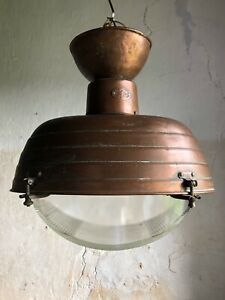 Rare Mid-Century French Holophane Street Light Copper & Prismatic Glass. c1950