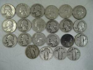 Antique United States Silver Quarter Collection Set Standing Liberty Washington